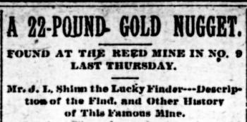 newspaper article announcing the discovery of a 22 pound gold nugget at the reed mine image courtesy of the north carolina office of archives and history